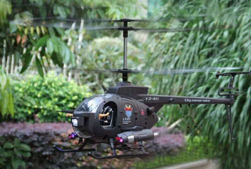 3-CH Hughes Defender YD-911 Radio Remote Control RC Military Helicopter RTF w/ LED Lights + Gyroscope System + Action Figures!