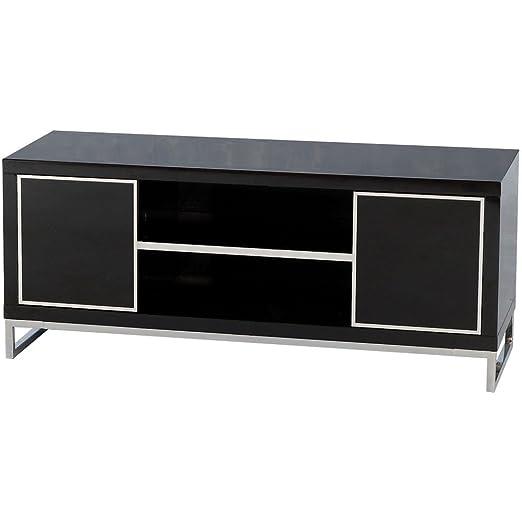 Charisma 2 portes et 1 étagère Meuble TV écran plat Noir brillant/chromé