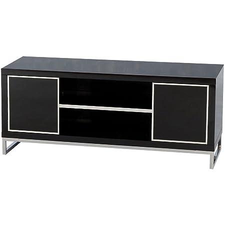 Carisma Puerta 2 1 Estante plano de la pantalla TV Unidad en negro Brillo/Cromado