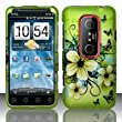HTC EVO 3D Accessory - Blossoming Spring Flower & Butterflies Protective Hard Case Cover Design for Sprint 4G