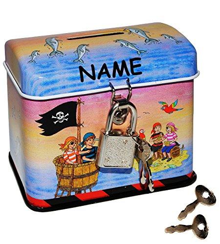 Pirat - Spardose / Sparbüchse - incl. Namen - mit Schlüssel und Schloß - aus Metall - für Kinder - Jungen - Sparschwein / Piratenschiff / Piraten Schatzinsel Delfine Seefahrer / Schatztruhe Truhe Box