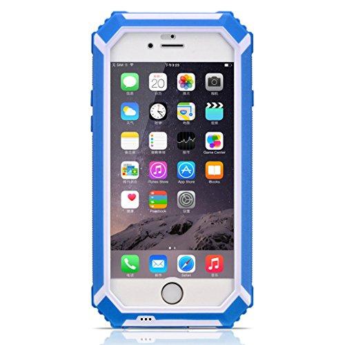HAMSWAN iPhone6ケース IP68テスト承認 防水 防塵 耐衝撃 指紋認識 ワンステップ成形技術 防水保護ケース iPhone6 4.7'' に対応  ノーマナーモードのスイッチ  4色の選択 ブルー