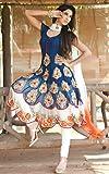 Kimberly Womens Georgette Semi-Stiched Anarkali Salwar Suit (SRA-55_Blue)