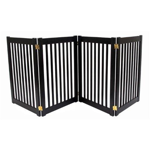 Dynamic Accents Four Panel Large Folding Ez Pet Safety Gate, Color - Black