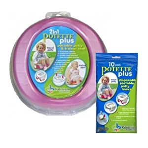 Kalencom Bundle - 2 items: 2-in-1 Potette Plus Potty (PINK) and 10 pc Liners