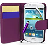 Supergets® Samsung Galaxy S3 mini I8190 Purple Side Flip Wallet PU Leather Case Covers, Screen Protector and Mini Stylus