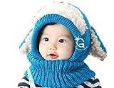 (ユッカル)YUCCALU うさぎちゃん ニット帽子 ニット帽 5カラー ベビー キッズ 防寒 かわいい 赤ちゃん こども うさぎ ネックウォーマー ボンボン フワフワ (Blue)