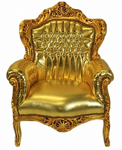 Casa Padrino Baroque Armchair 'King' Gold / Gold Leatherlook Bling Bling rhinestones
