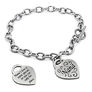 Stainless Steel Nana Heart Tag Bracelet - 7.5 Inches