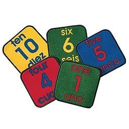Carpet Kits Printed Bilingual Number Tile Kids Rug (Set of 10) Rug Size: Square 12\'