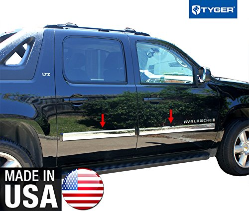 Made In USA! 2007-2008.5 Chevy Suburban/Avalanche Rocker Panel Chrome Stainless Steel Body Side Moulding Molding Trim Cover 3.5