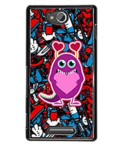 Fuson Heart Pattern Back Case Cover for SONY XPERIA C - D4005