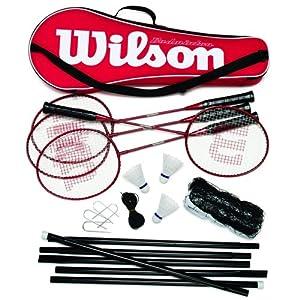Wilson Tour Pro Badminton Kit (Red/Black) (4 Rackets, 3 Shuttles, Net, Poles, Bag)