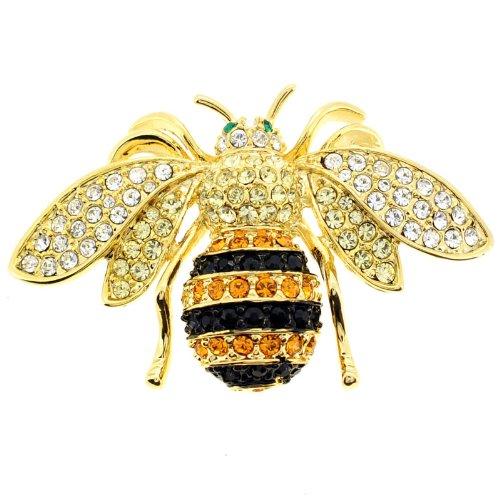 Black And Golden Bee Swarovski Crystal Pin Bug