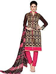 Colorful Brown & Pink Coloured Embroidered Dress Material