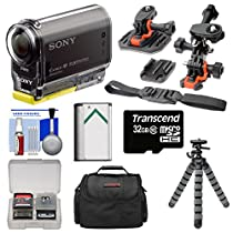 Sony Action Cam HDR-AS30V 1080p Wi-Fi HD Video Camera Camcorder with Curved, Flat & Vented Helmet Mounts + 32GB Card + Battery + Case + Flex Tripod Kit