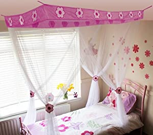 Kids Princess White Flower Bed Canopy With Gift Bag