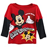 Mickey Mouse Toddler Boys Shirt Awesome Ends With Me Tee Red (4T)