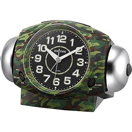 リズム時計工業 RHYTHM クオーツ目覚まし時計 タフバトラー634 8RA634SR05 大音量ベル音 ライト付 緑迷彩 黒 アナログ
