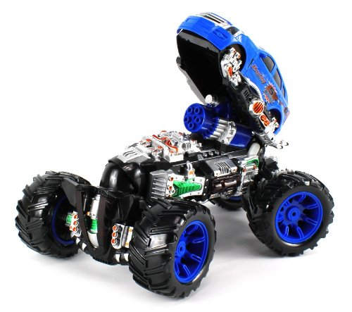 Deluxe Flip-Up Missile Shooting Monster Cadillac Srx Electric Rc Truck Ready To Run Rtr Big Size, Comes With 8 Missiles (Colors May Vary)
