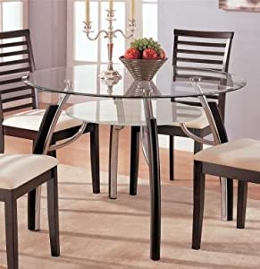Beautiful casual design round glass top for Beautiful glass dining tables