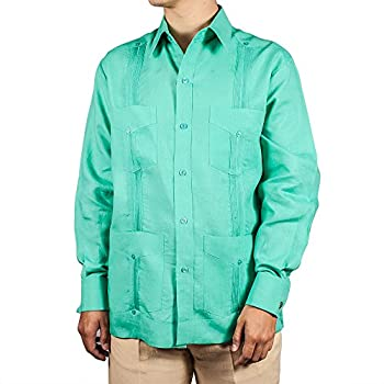 Deluxe Signature French Cuffs Mint Linen Guayabera
