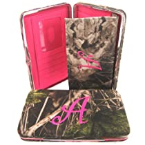 "Soft Camo Initial "" A "" Thick Flat Wallet Clutch Purse Hot Pink Camoflauge"