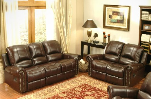 Picture of Abbyson Living Broadway Reclining Italian Leather Sofa and Loveseat Set in Burgundy By Abbyson Living (CH-8811-BRG-3/2) (Sofas & Loveseats)