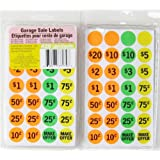 "Neon Garage Sale Labels, 2-pack (840 Total) .75"", Pre-printed and Blank"