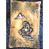 NATIVE AMERICAN INDIAN END OF THE TRAIL LAST WARRIOR PETROGLYPH PRIMITIVE DECOR TRAY PLAQUE, Native American Indian Pueblo Rock Art Spirit Vision Relic Gallery Style Decorative Pottery ~ INDIAN ROCK ART NATIVE...