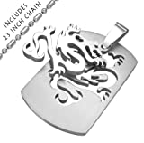 Stainless Steel Dragon Dog Tag Style Pendant Necklace with 23 Inch Stainless Steel Chain