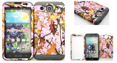 Lg Optimus G Pro E980 Pink Leaf Camo Mossy Hard Plastic Snap On + Grey Silicone Kickstand Cover Case front-660689