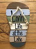 FLIP FLOP Sign Reclaimed Wall Pallet Lovin Life at the lake / in Flip Flops Beach Wood Rustic Sandal Plaque