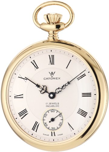 Catorex Men's 170.6.1824.410 Les Breuleux 18k Gold Plated Brass White Textured Dial Pocket Watch