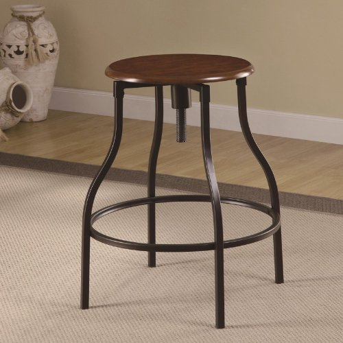Adjustable Bar Stool With Wood Seat Black Metal Legs