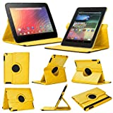 Stuff4 MR-NX7-L360-Y-STY-SP Leather Smart Case with 360 Degree Rotating Swivel Action and Free Screen Protector/Stylus Touch Pen for 7 inch Google Nexus 7 - Yellow