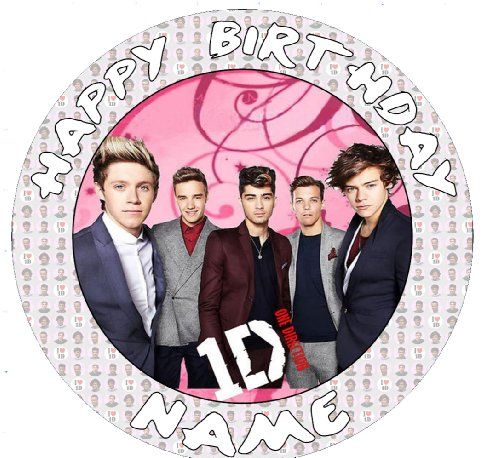 One direction 1d10 Cake Topper edible sugar icing 7.5 inch