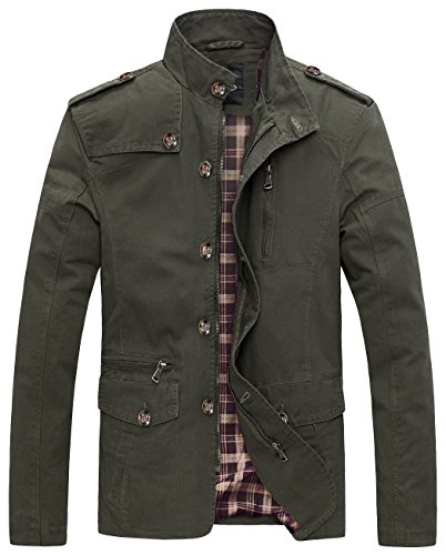 Wantdo Men's Soild Cotton Jacket US X-Large Military Green (Jacket Waxed Cotton compare prices)