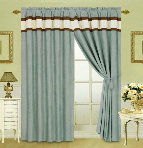 8 Pc Elegant Blue / Brown Micro Suede Curtain Set 2 Panels, 2 Ties With Attached Valances And Sheers front-20200