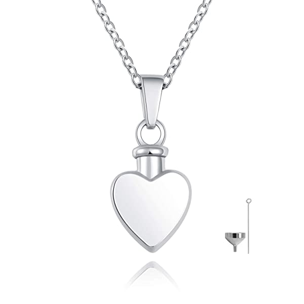 Silver 925 Crystal Heart Necklace Pendant Urn Cremation Ashes Memorial keepsake