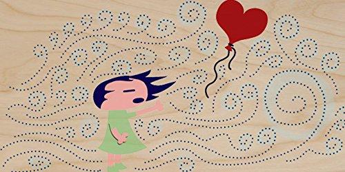 """Lost Heart"" Cute Little Girl W/ Wind & Heart Balloon - Plywood Wood Print Poster Wall Art front-429860"
