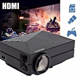 ELEGIANT ミニLEDプロジェクター 1000ルーメン 800*480解像度 ミニプロジェクター HD解像度サポート1080×1920 LED小型 プロジェクター 小型 VGA/HDMI/AV/USB/TV対応リモコン付きビジネス 劇場 ゲーム 教育 パーティー 用ホームシアター
