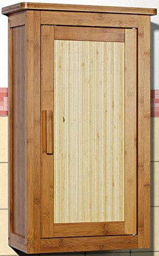 Badmöbel Hängeschrank Badezimmer Badschrank Bambus mit 2 Türen ... | {Badschrank bambus 97}