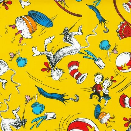 The Cat In The Hat Minky Cuddle Fun House Yellow Fabric front-860545