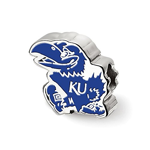 Sterling Silver LogoArt Official Licensed Collegiate The University of Kansas (KU) Jayhawk Enameled Logo Bead