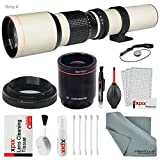 Super-powered 500mm 1000mm f 8.0 Telephoto Lens (White) with 2X Professional Multiplier for Sony Alpha Digital SLR cameras and Deluxe Accessory Bundle with Xpix Cleaning Kit