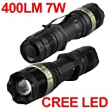 CREE Q5 LED Zoomable Torch Flashlight Light Camping Hiking 400 Lumens 7W