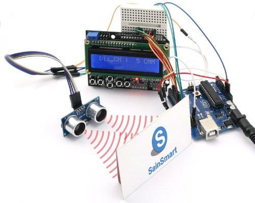 Sainsmart C21 Kit With Uno + Lcd Keypad Shield + Hc-Sr04 Distance Sensor + Prototype Shield + Mini Breadboard + Jump Wires For Arduino Uno R3 Mega Mega2560 Nano Due Duemilanove Avr Atmel Robot Xbee Zigbee