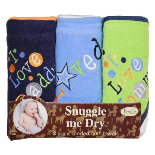 I Love Mommy and Daddy Hooded Bath Towel Set, 3 Pack, Boy, Frenchie Mini Couture