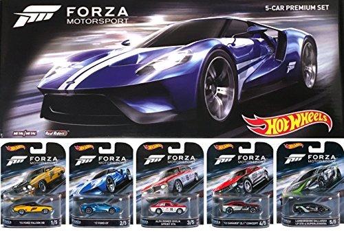 Hot Wheels 2016 FORZA Motorsport Retro Entertainment Series Box Premium Set - Lamborghini Gallardo / '17 Ford GT / Alfa Romeo Sprint GTA / Ford Falcon / Camaro ZL1 Real Riders (Collector Cars compare prices)